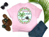 southern beach tees - throwing shade - palm tree tshirt - pink palm surrounded by tropical hibiscus on a preppy blue and white background with a sassy saying - pink shirt - women beach clothes - living life in the sun