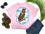 beach tees - otterly basic - sea otter tee - preppy sea otter holding coffee wearing bow and pearls - pink tshirt - florida fashion - living life in the sun