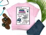 Southern Nurse Tees - Dream Worth More Than Sleep - Shirts With Sayings - Nursing Student T-Shirt - School Grad Gift - Stethoscope Coffee Books Shirt - Future RN LPN Top - Womens Clothes - Simply a pink Graphic tee - living life in scrubs