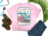 Southern Nurse Tees - Can't I'm In Nursing School - Shirts With Sayings - Cute Backpack T-Shirt - RN Student Books - living life in scrubs - Stethoscope LPN Top - Medical Gift - Womens Preppy Clothes - Comfort Wear - Simply A pink Graphic Tee