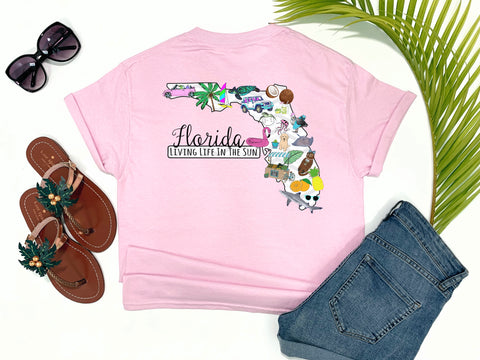 southern beach tees - florida state - shark shirt - florida state outline filled with preppy prints - pink shirt - women beach clothes - living life in the sun