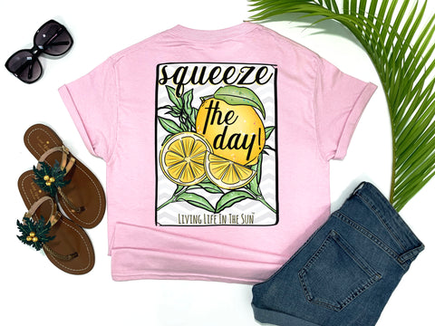 beach tees - squeeze the day - lemon tee - tropical fruit shirt - pink tshirt - florida fashion - living life in the sun