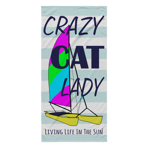 Hobie Cat Catamaran Beach Towel | Crazy Cat Lady | Colorful Lightweight Beach Towel