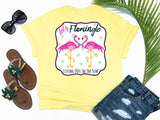 shirts with sayings - let's flamingle - flamingo t-shirt - preppy flirty love bird flamingos wearing a bowtie and pearls - yellow t shirt - southern beach shirt - living life in the sun