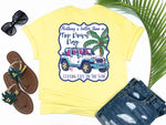 simply southern style - pnothing's better than a top down day - jeep shirt - white jeep with pink and blue trim beside a pink palm with fishing poles -yellow t-shirt - coastal vacation gifts - living life in the sun