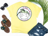 southern beach tees - whats crackin - sea turtle tshirt - baby sea turtle hatching from egg - yellow shirt - women beach clothes - living life in the sun