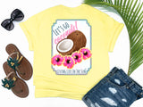 simply southern stye - coconut and hibiscus shirt - preppy coconuts with pink and yellow hawaiian hibiscus flowers - yellow t-shirt - coastal vacation gifts - living life in the sun