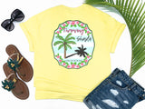 beach tees - throwing shade - palm tree tee - pink palm surrounded by tropical hibiscus on a preppy blue and white background with a sassy saying - yellow tshirt - florida fashion - living life in the sun