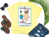preppy graphic tees - sandy paws and salty kisses - dog t shirt - preppy cute puppy dog wearing sunglasses and bow sitting on beach with bucket of tennis balls - yellow tee - vacation t shirt - living life in the sun