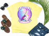 simply southern style - never be ordinary - pelicorn shirt - a pelican crossed with a unicorn makes a pelicorn with rainbow background - yellow t-shirt - coastal vacation gifts - living life in the sun
