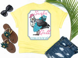 southern beach tees - surfer gull - seagull tshirt - seagull carrying a surf board wearing headphones and a hat - yellow shirt - women beach clothes - living life in the sun
