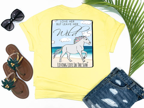 beach tees - love her but leave her wild - horse tee - rainbow horse running on sandy beach beside waves - yellow tshirt - florida fashion - living life in the sun