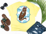 simply southern style - otterly basic - preppy sea otter holding coffee wearing bow and pearls  - yellow t-shirt - coastal vacation gifts - living life in the sun