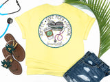 Southern Nurse Tees - Coffee Careplans Cinicals - Shirts With Sayings - Nursing student school T-Shirt - Stethoscope Books LPN RN Shirt - Cute Preppy Clothes - Living Life In Scrubs - Fun Medical Women Top - Simply a Yellow Graphic Tee