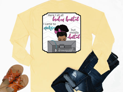 Southern Nurse Tees - Broken Hearted Came To Nurse Only Charted - Shirts With Sayings - Living Life In Scrubs - Funny RN LPN BSN NP T-Shirt - Preppy Cute Women Clothes - african american nurse tee - Stethoscope Medical Shirt - Funny Nursing School Grad Gift - Comfort Colors Long Sleeve Pocket Tee - Simply a yellow Graphic Tee