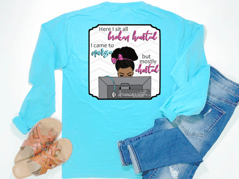 Southern Nurse Tees - Broken Hearted Came To Nurse Only Charted - Shirts With Sayings - Living Life In Scrubs - Funny RN LPN BSN NP T-Shirt - Preppy Cute Women Clothes - african american nurse tee - Stethoscope Medical Shirt - Funny Nursing School Grad Gift - Comfort Colors Long Sleeve Pocket Tee - Simply a Blue Graphic Tee