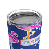 beach travel mug - stainless steel insulated - preppy flamingo cup - living life in the sun