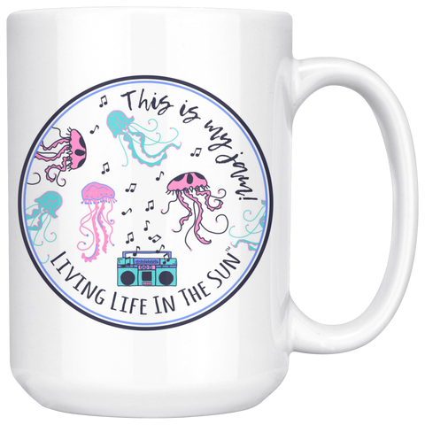This Is My Jam, Jellyfish Mug, Beach Mug, Mug With Saying, BoomBox Mug, Jelly Mug, Fish Mug, Southern, Ocean Mug, Preppy Mug, Coffee Cup