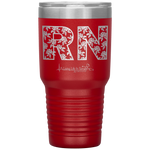powder coated tumblers - medical gift - RN Floral Tumbler - living life in scrubs