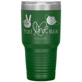Southern nurse tumblers - BSN Gifts - Peace Love Mask - Wear A Mask Tumbler - living life in scrubs