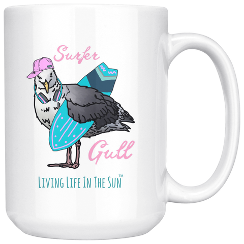 Surfer Gull, Seagull Mug, Mug With Saying, Surfer Girl, Surfing Mug, Beach Mug, Surfing Geagull, Surfboard Mug, Funny Mug, Coastal Mug, bird