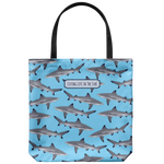 southern beach bag - large tote bag - blacktip reef sharks on blue background - simply cute coastal vacation gifts
