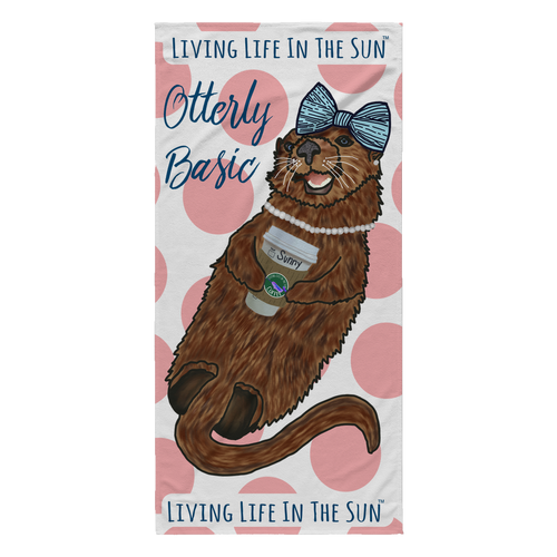 Sea Otter, Beach Towel, Otterly Basic, Coffee Towel, Preppy Beach Towel, Bow Pearls, PSL, Florida Beach, Ocean Life, Southern Beach Towel