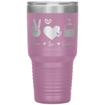 insulated tumblers - nurse grad gifts - peace love sanitize - living life in scrubs