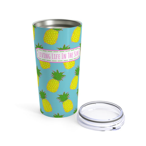 beach tumblers - stainless steel insulated - preppy pink pineapple print - living life in the sun