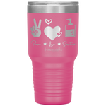stainless steel tumblers - nurse practitioner gifts - peace love sanitize - living life in scrubs