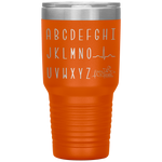 laser engraved tumblers - nursing student gifts - cardiology EKG Wave alphabet tumbler - qrs complex - living life in scrubs