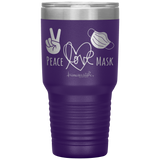 laser etched tumblers - nursing school cup - Peace Love Mask - Wear A Mask Tumbler - living life in scrubs