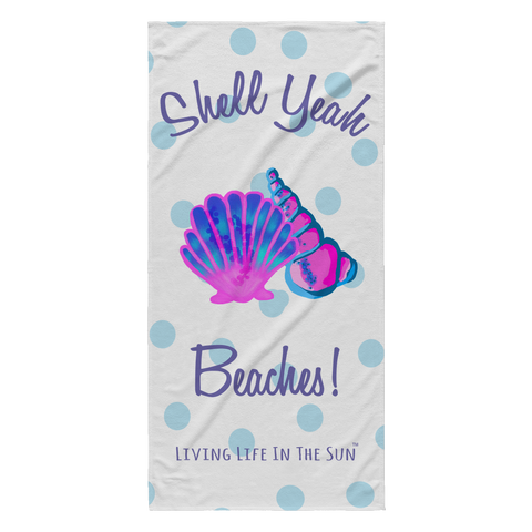 Shell Yeah Beaches | Lightweight Beach Towel | Preppy Coastal Colorful Seashell Microfiber Towel