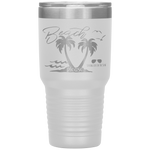 powder coated tumblers - beach tumbler - beach please - palm trees and waves - living life in the sun