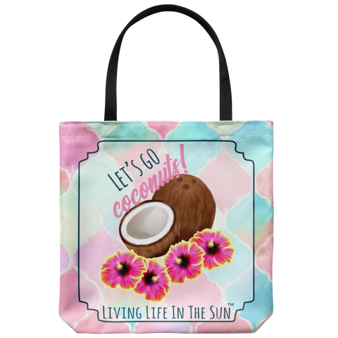 southern beach bags - southern beach totes - lets go coconuts - coconut hibiscus bag - summer tote bag - living life in the sun
