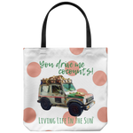 southern beach bags - southern beach totes - coconut truck bag - you drive me coconuts - summer tote bag - living life in the sun