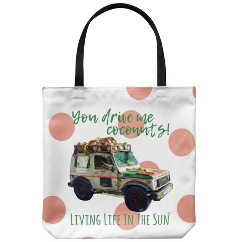 Coconut Jeep Tote, Jeep Tote, Key West Jeep Painted Tote, Key West Tote, Polkadot Tote, Beach Tote, Beach Bag, Coastal Tote, Preppy Tote