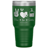 coffee mug - NP gifts - peace love sanitize - living life in scrubs