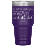 insulated tumblers - nurse grad gifts - Stethoscope Cup - Believed She Could Studied Ass Off And Did - living life in scrubs