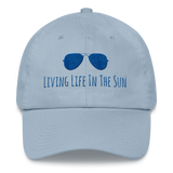 living life in the sun, dad hat, low profile hat, preppy hat, sunglasses hat, coastal hat, beach hat, southern hat, womens hat, resort wear, beachwear, embroidered hat, blue