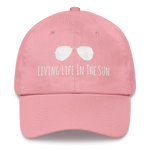 living life in the sun, dad hat, low profile hat, preppy hat, sunglasses hat, coastal hat, beach hat, southern hat, womens hat, resort wear, beachwear, embroidered hat, pink and white