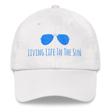 living life in the sun, dad hat, low profile hat, preppy hat, sunglasses hat, coastal hat, beach hat, southern hat, womens hat, resort wear, beachwear, embroidered hat, blue and white