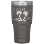 stainless steel tumblers - beach trip gift - beach please - palm trees and waves - living life in the sun