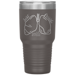 stainless steel tumblers - nurse practitioner gifts - just breathe - lung anatomy cup - living life in scrubs