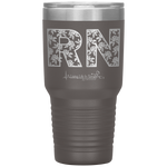 stainless steel tumblers - nurse grad gifts - RN Floral Tumbler - living life in scrubs