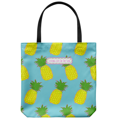 southern beach bags - southern beach totes - preppy pink pineapple printed bag - summer tote bag - living life in the sun
