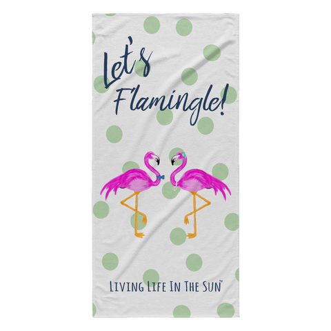 Let's Flamingle | Lightweight Beach Towel | Flamingo wearing pearls and bow tie on mint polkadot towel