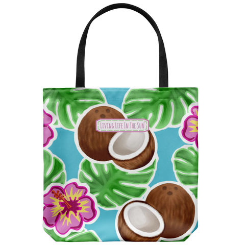 southern beach bags - southern beach totes - coconut hibiscus and palm printed bag - summer tote bag - living life in the sun