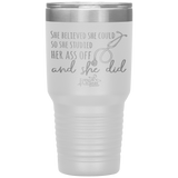 nursing student tumblers - nursing school graduation gift - Stethoscope Cup - Believed She Could Studied Ass Off And Did - living life in scrubs