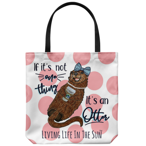 southern beach bags - southern beach totes - preppy sea otter with coffee wearing bow and pearls - if it's not one thing it's an otter - summer tote bag - living life in the sun